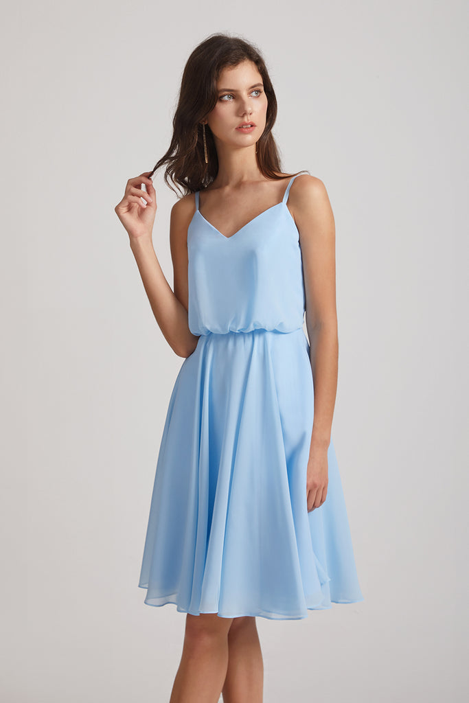 spaghetti straps bridesmaid dress