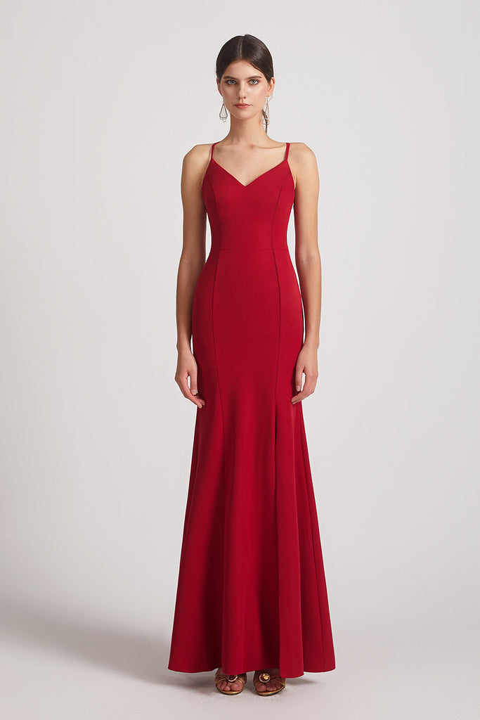 form fitting long red satin bridesmaid gowns