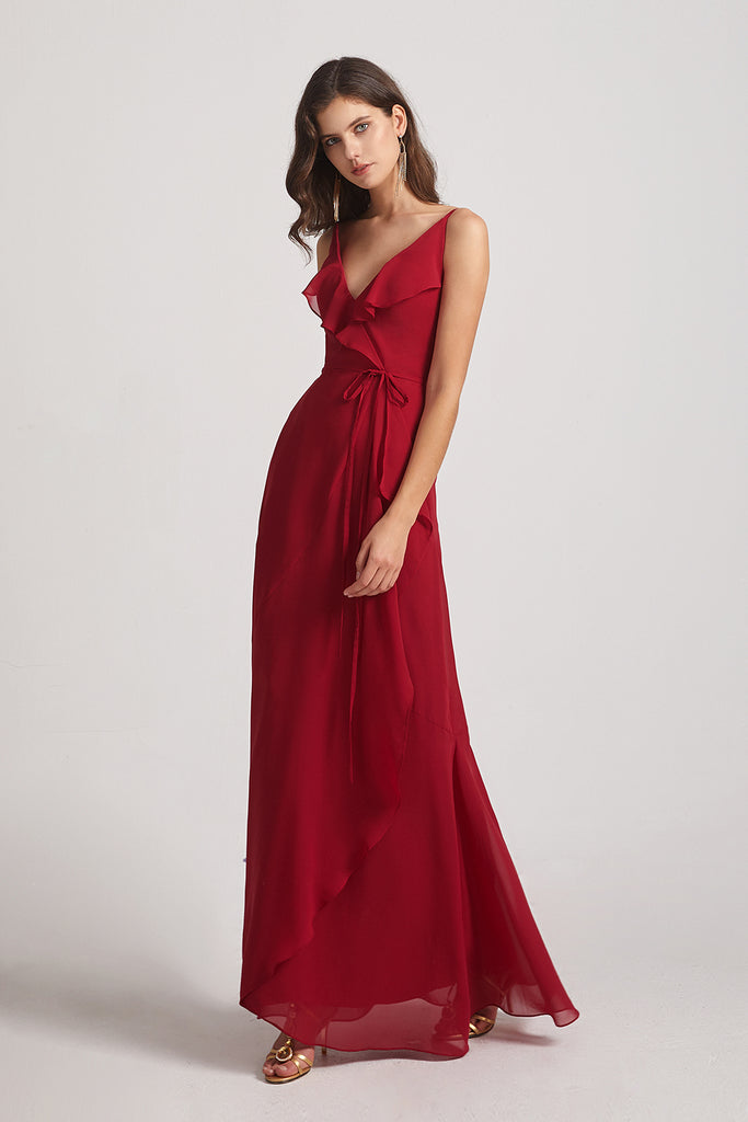 spaghetti straps ruched a-line backless bridesmaid gowns
