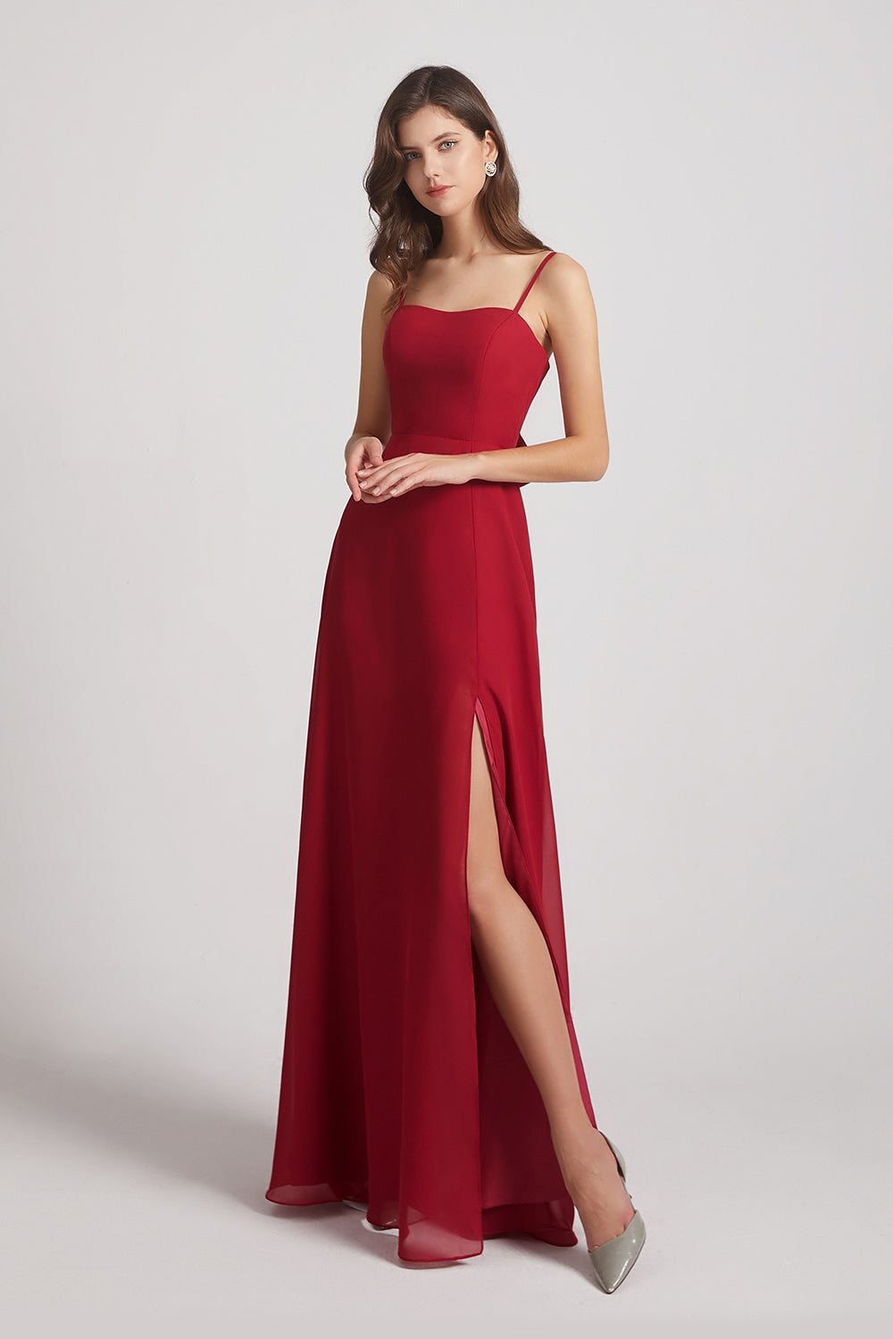 spaghetti side split chiffon lace-up bridesmaids dress