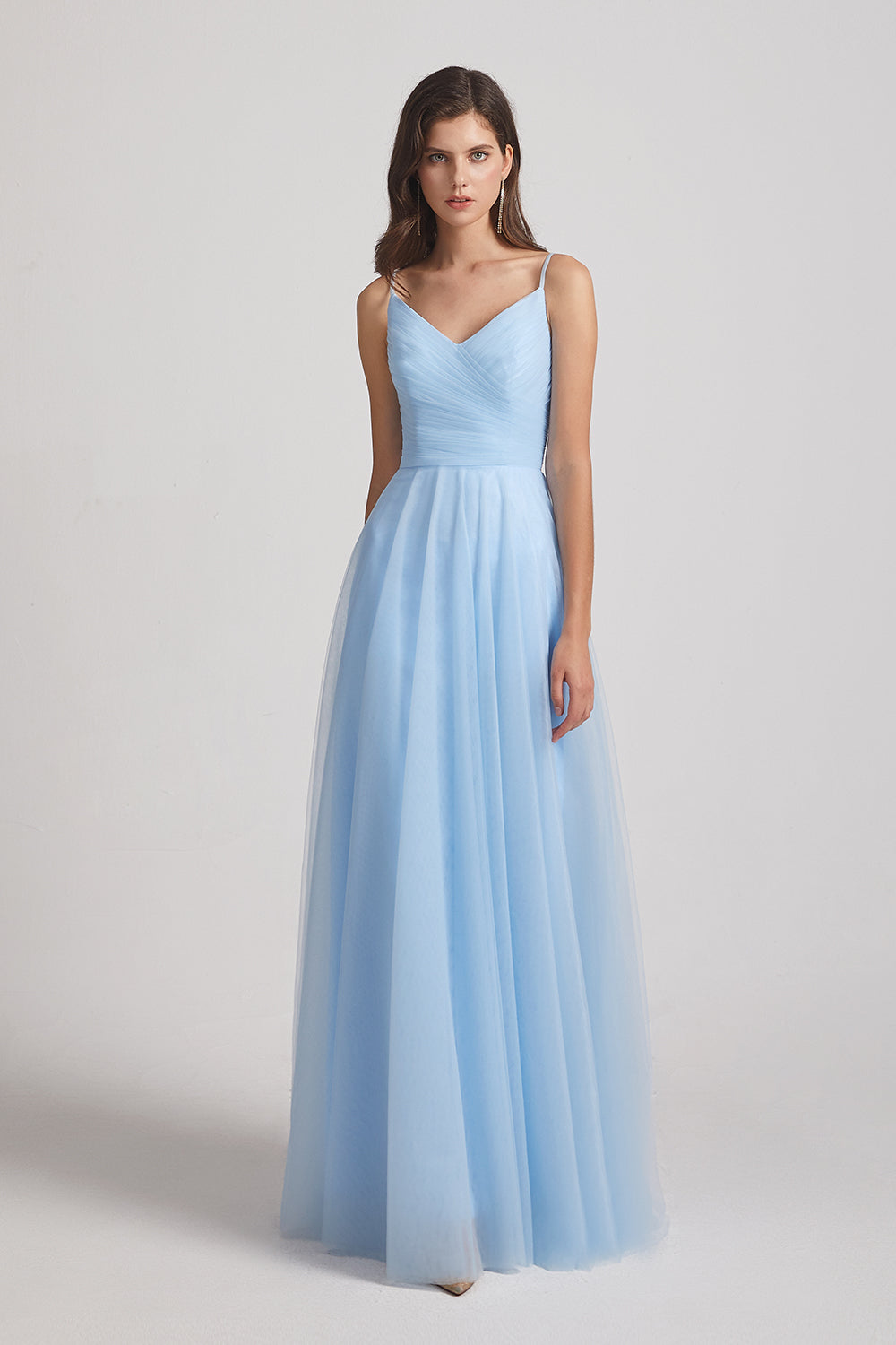 chest folds a-line long bridesmaids dress