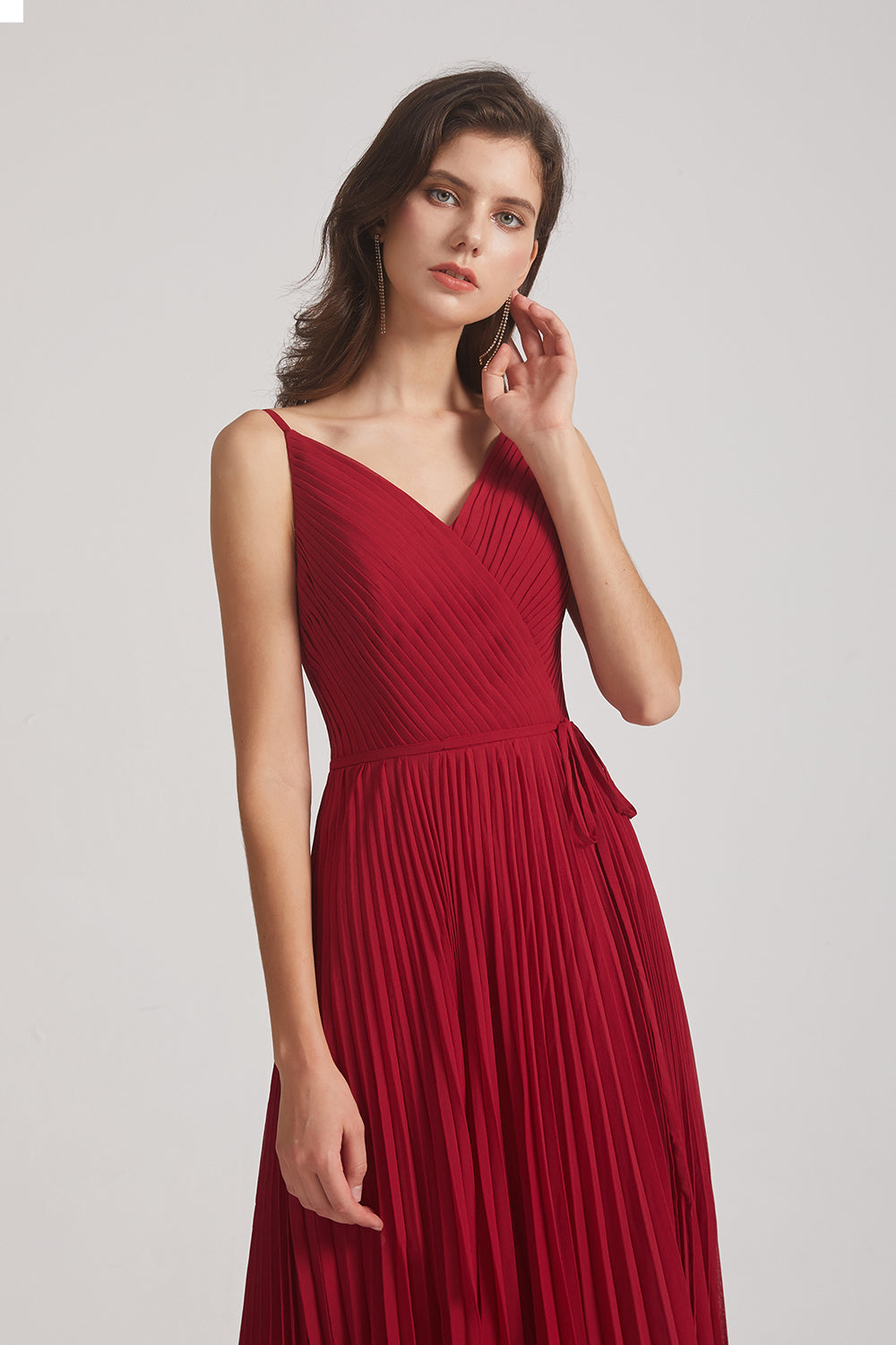spaghetti straps v-neck chiffon bridesmaid dresses