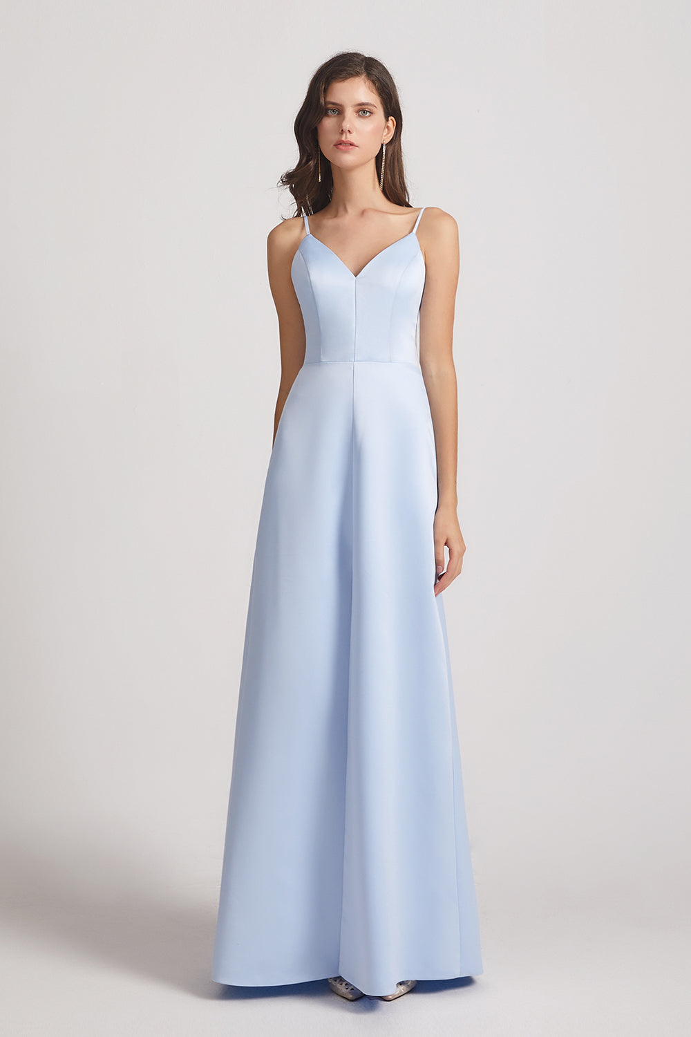 spaghetti straps v-neck satin bridesmaid dress