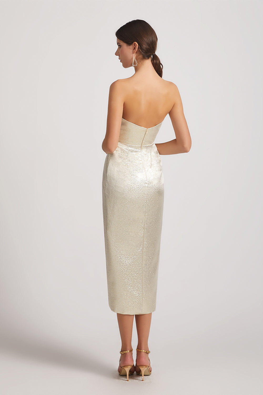 backless metallic sheath bridesmaid gown