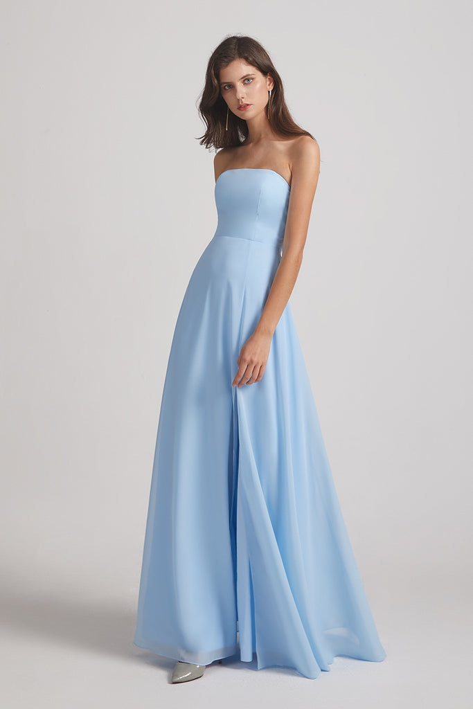 strapless a-line chiffon long bridesmaids gown