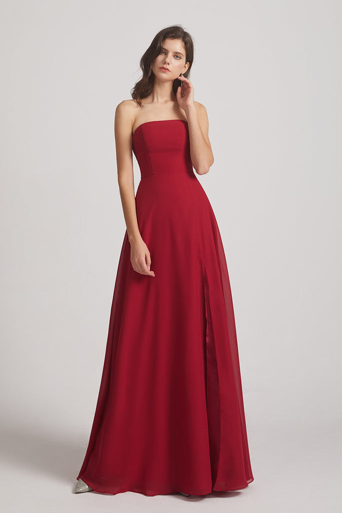 strapless chiffon a-line bridesmaid dresses