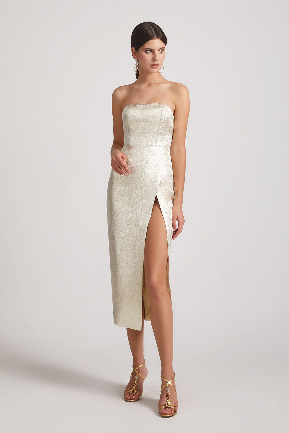 metallic strapless sheatn maids of honor dresses