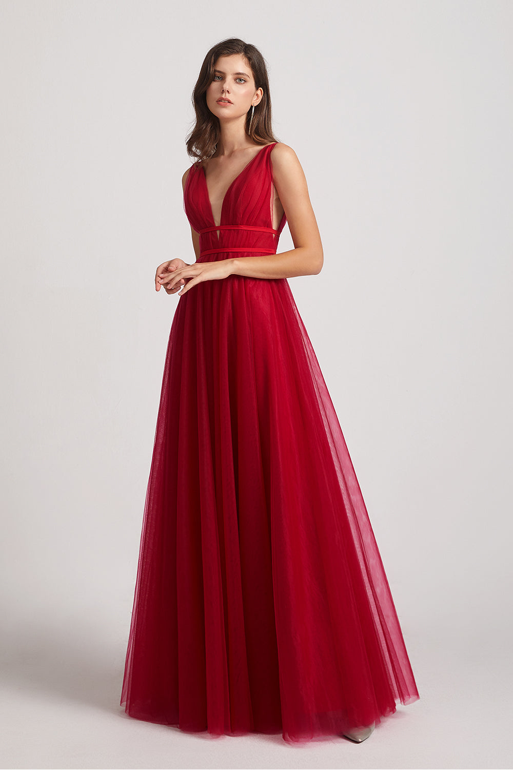 ruched a-line maxi red bridesmaids dress