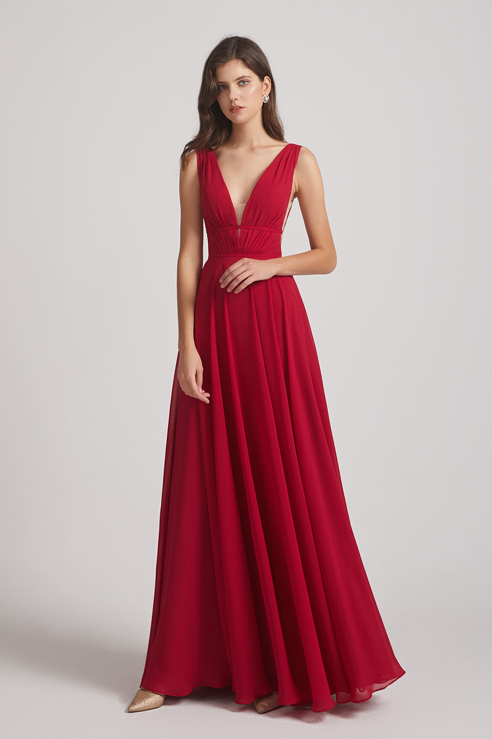 strappy chiffon maids of honor dress
