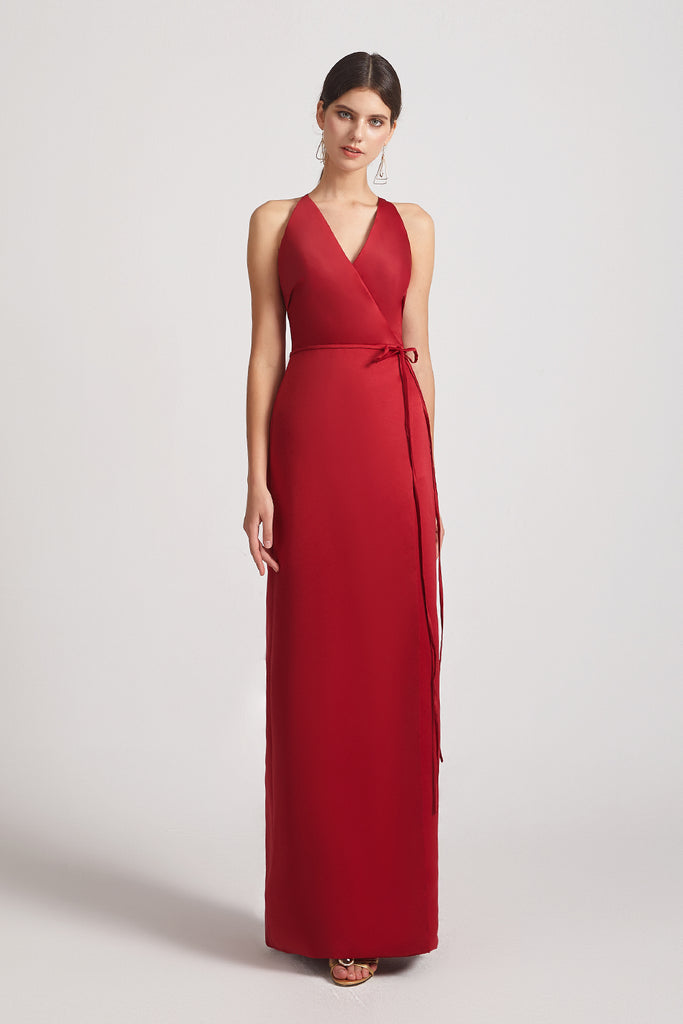 a-line red satin sleeveless dresses for bridesmaid