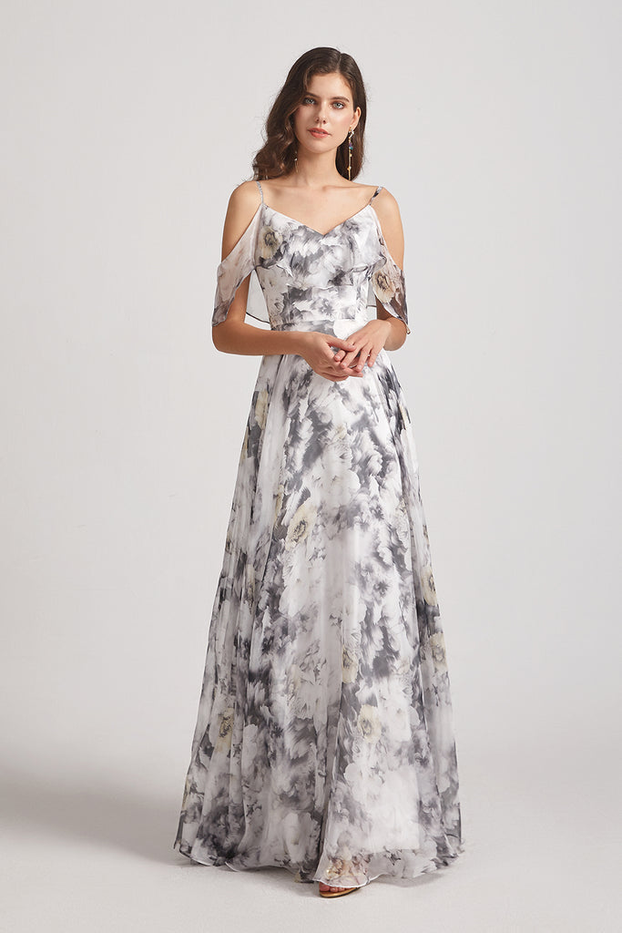 cold shoulder floral maid of honor dress