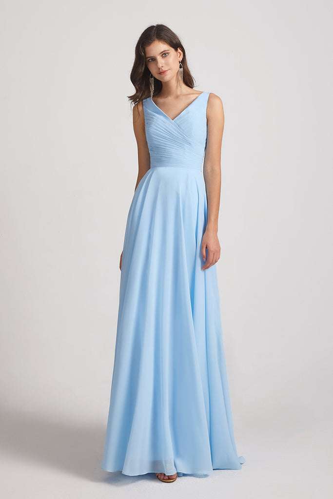 sleek floor length maid of honor dresses