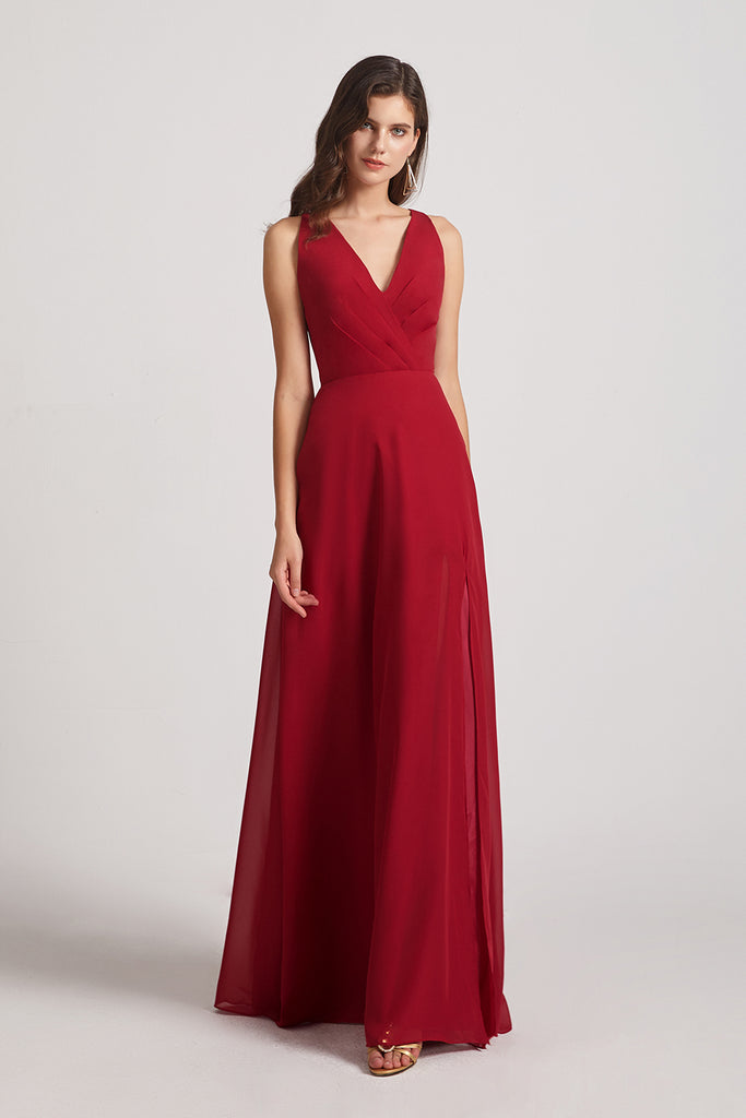 red chiffon long maids of honor dresses
