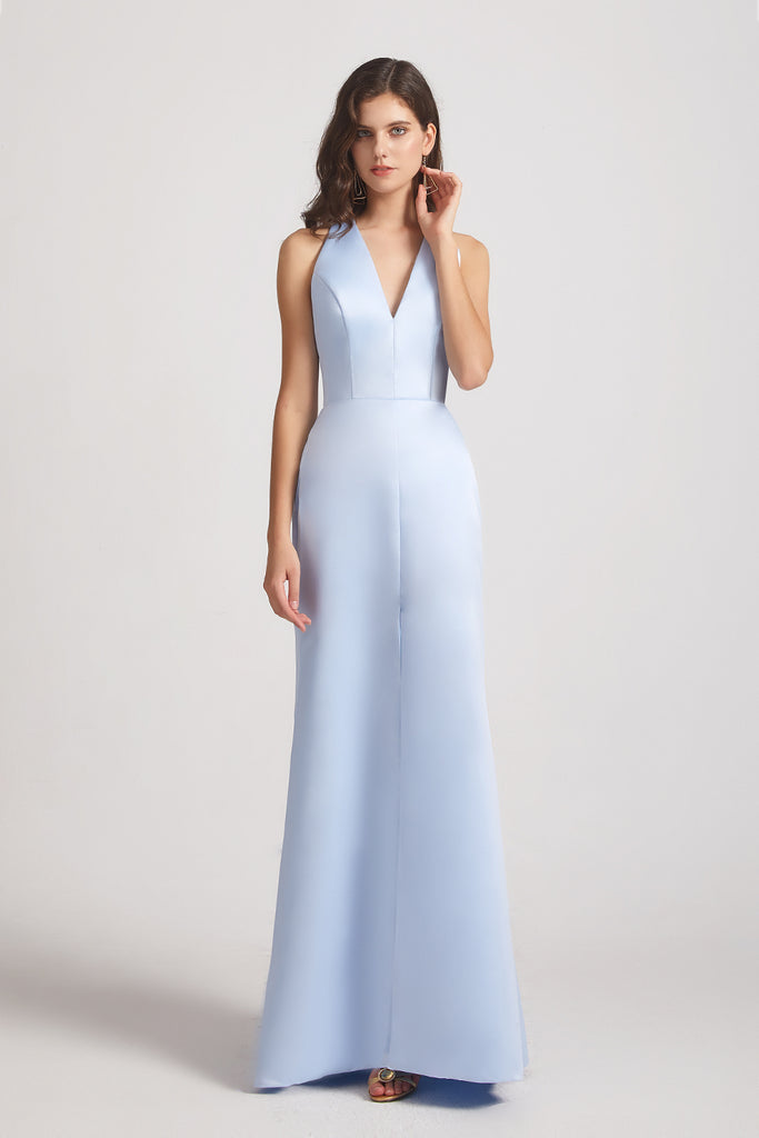 v-neck sleeveless cheap satin gown