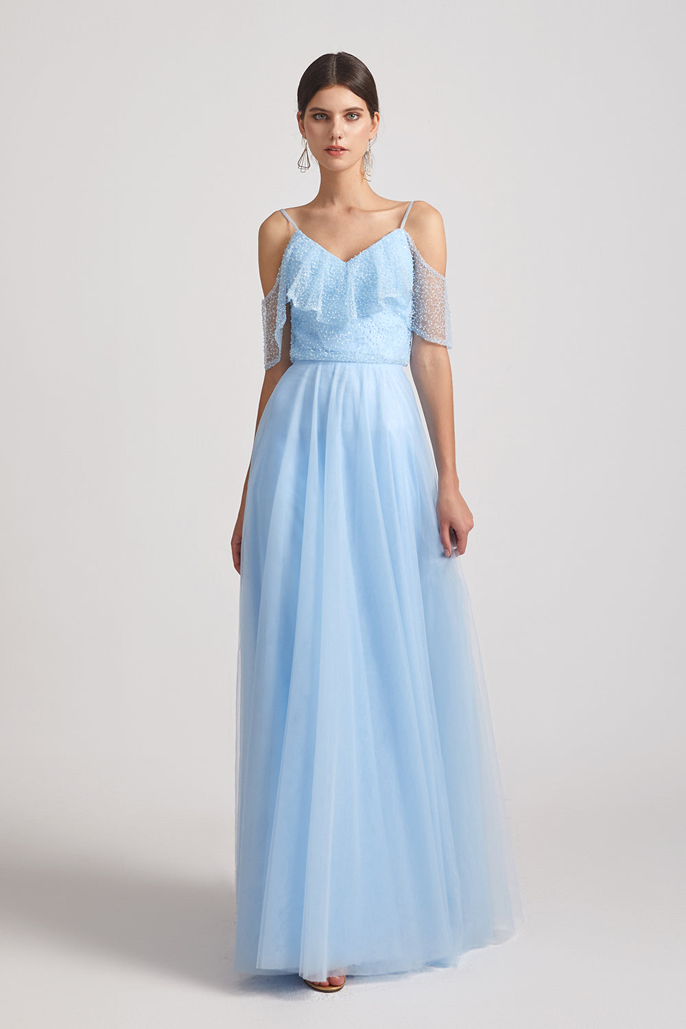 cold shoulder ruched blue bridesmaids gowns