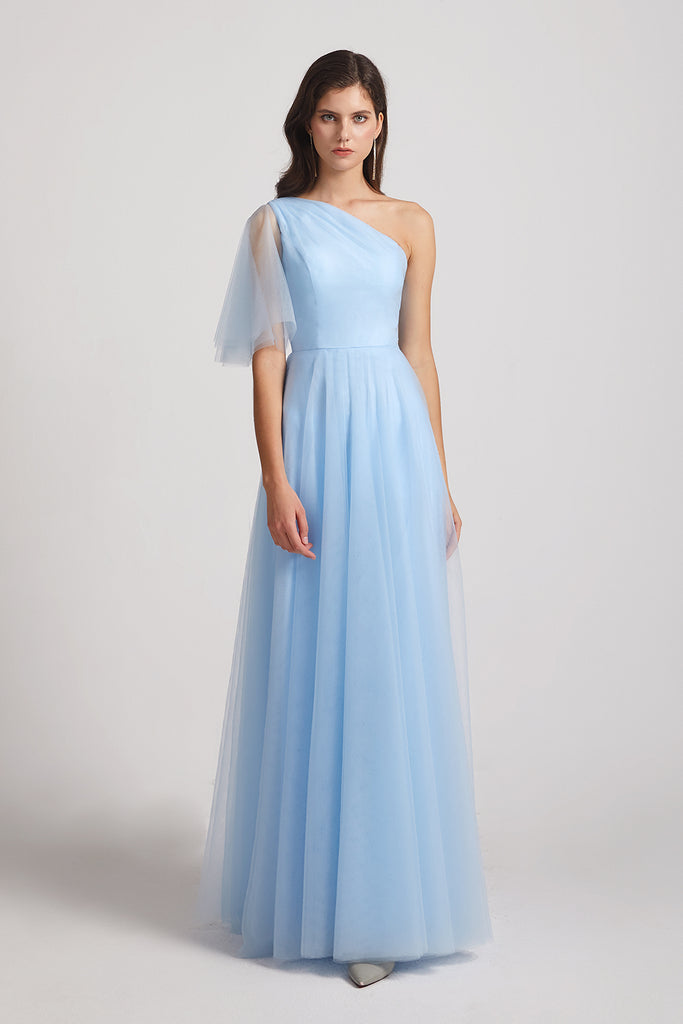 one shoulder blue long bridesmaid gown
