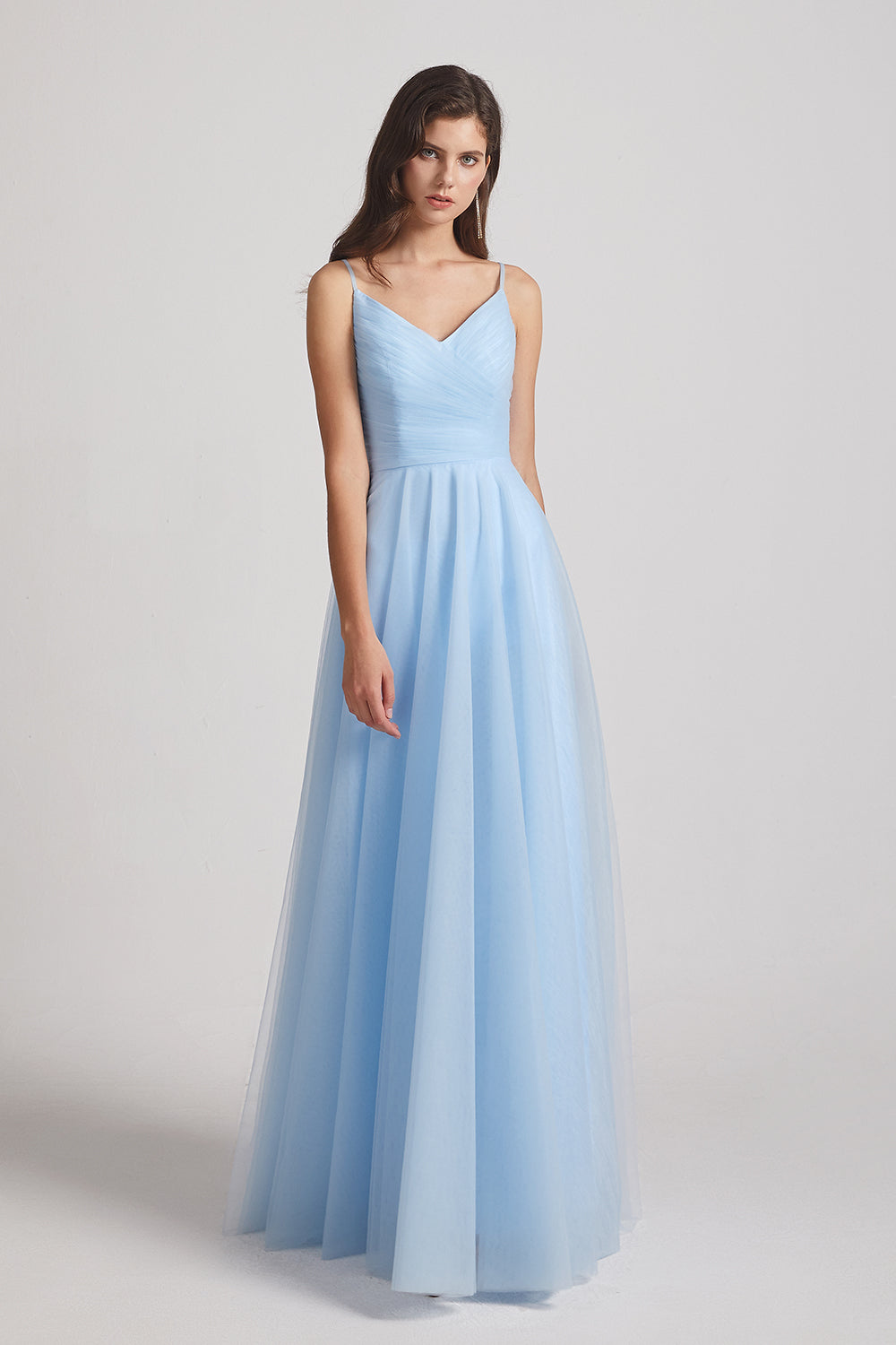 v-neck ruched blue maids of honor dress