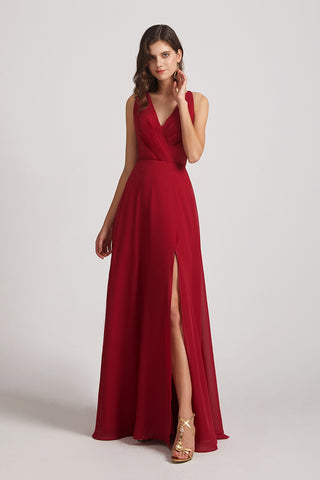 slit chiffon maxi maid of honor dresses