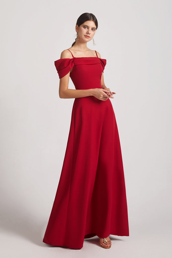 red satin long maid of honor dresses