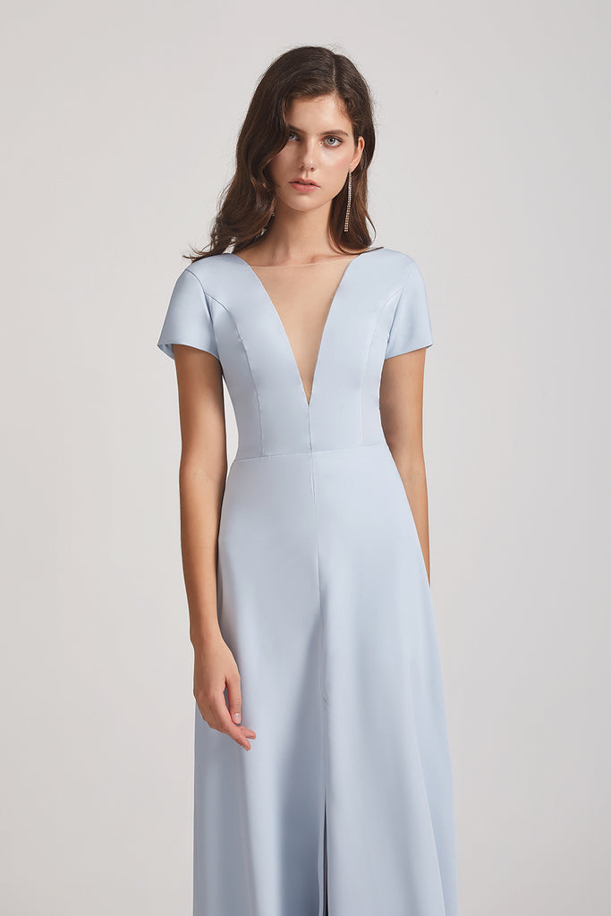 illusion v-neck satin brdesmaids dresses