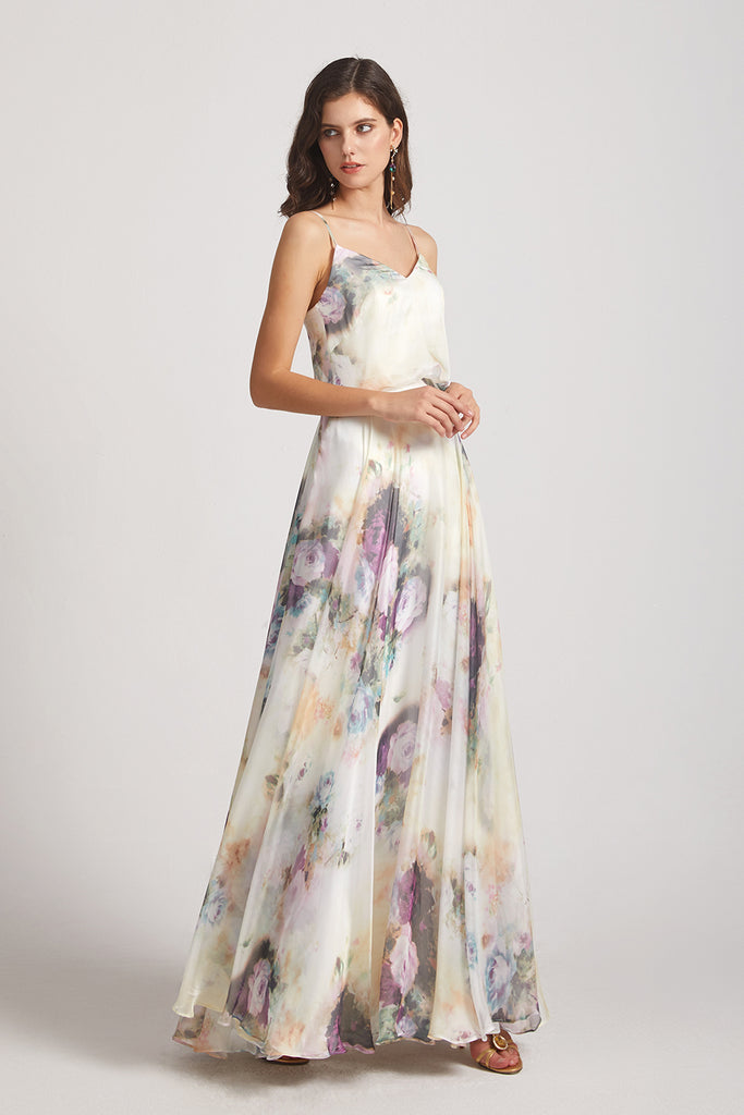 v-neck floral chiffon long bridesmaid gown