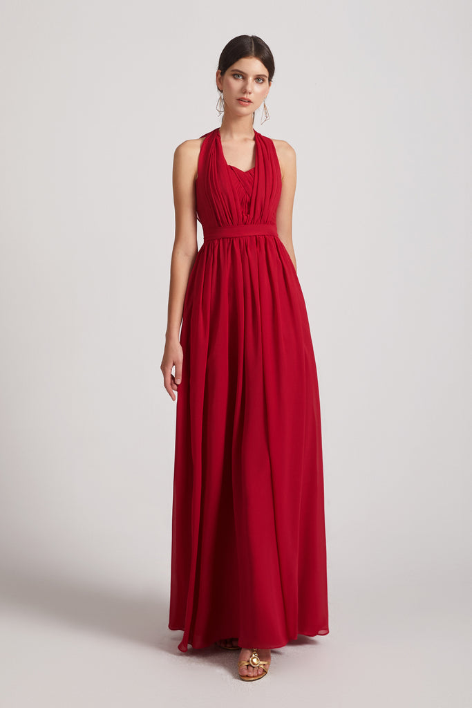 convertible a-line pleated chiffon bridesmaid gowns