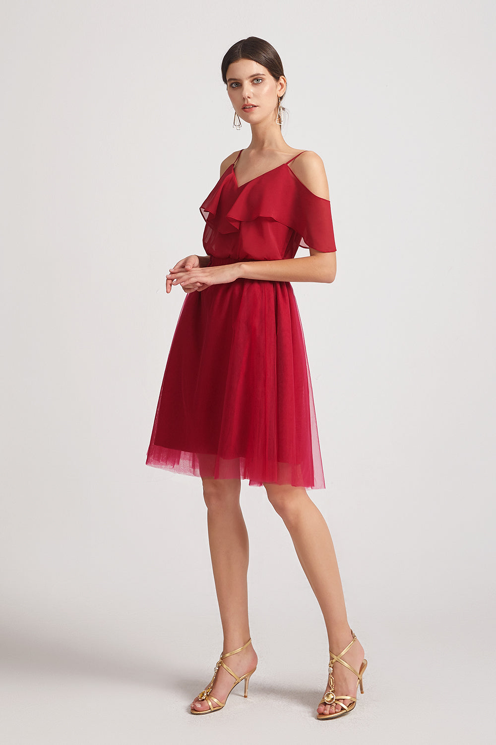 a-line red short bridesmaid gowns
