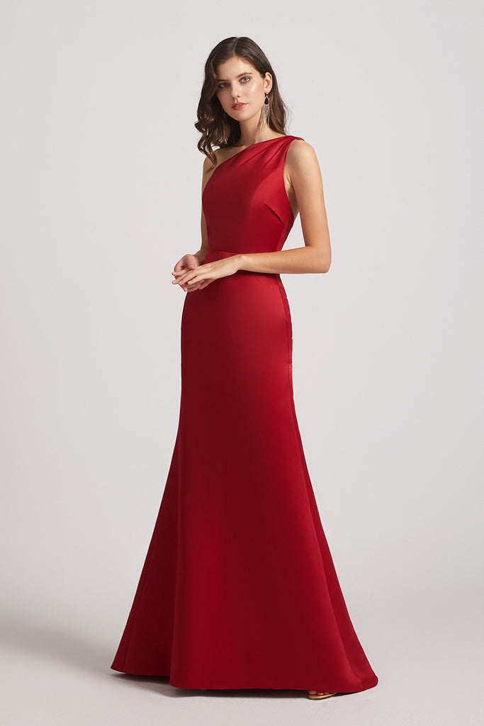 one shoulder red  long bridesmaid gown