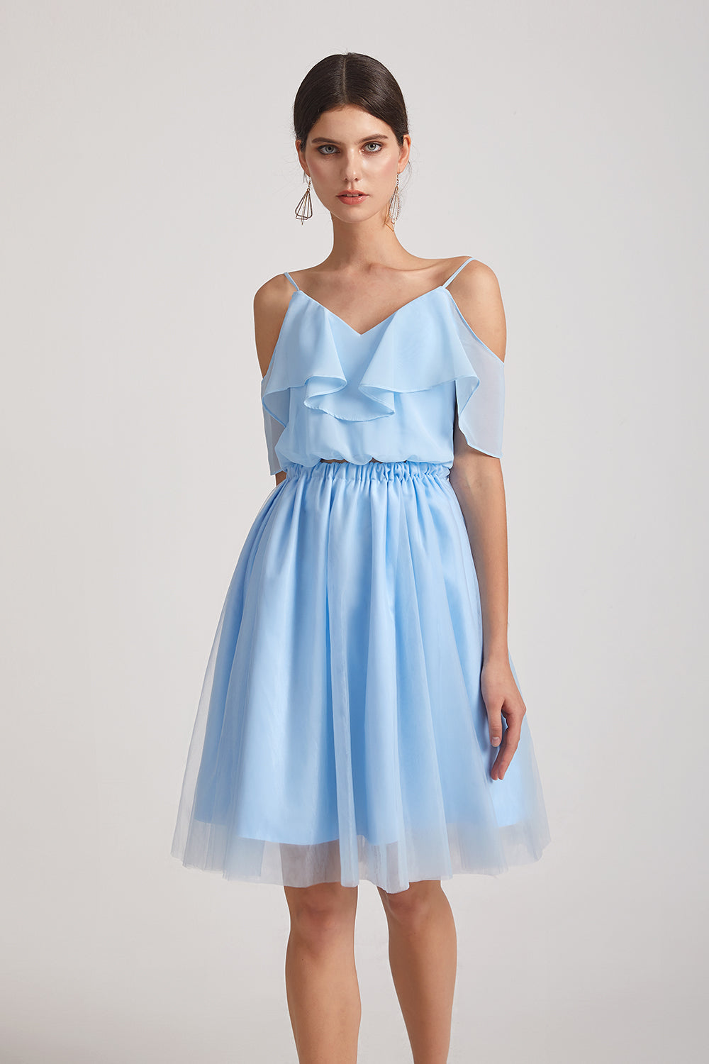 two pieces chiffon short sky blue maid of honor dresses