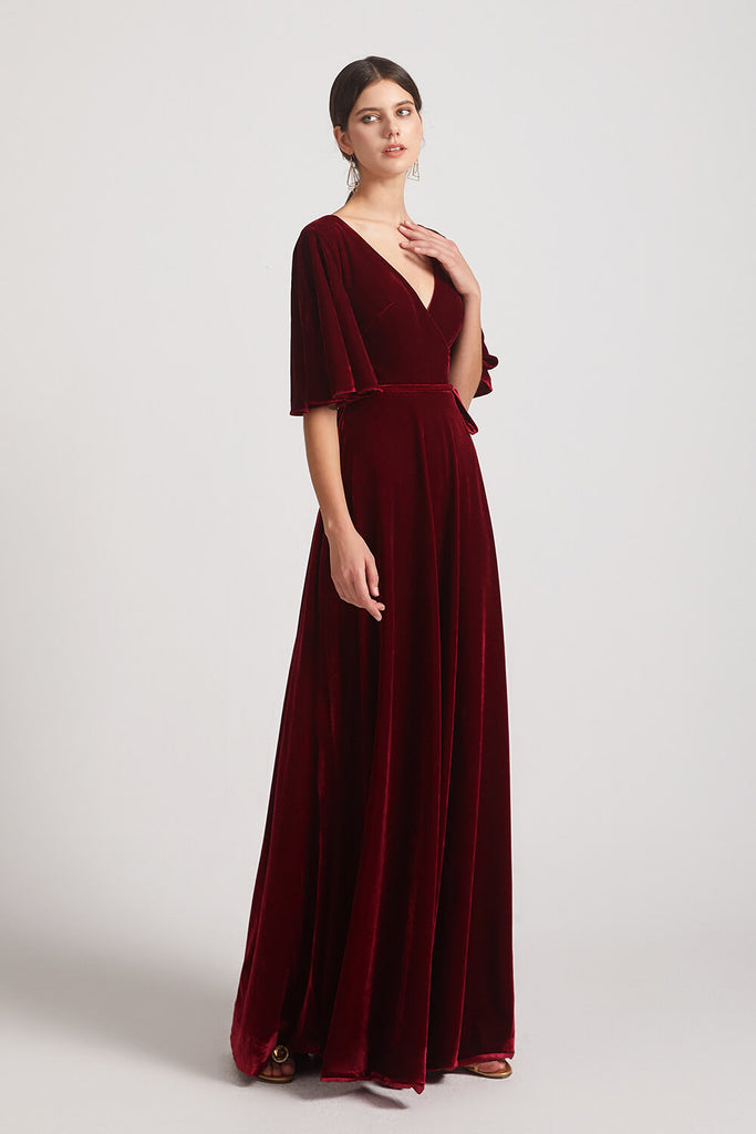 Floor Length Velvet Bridesmaid Dresses
