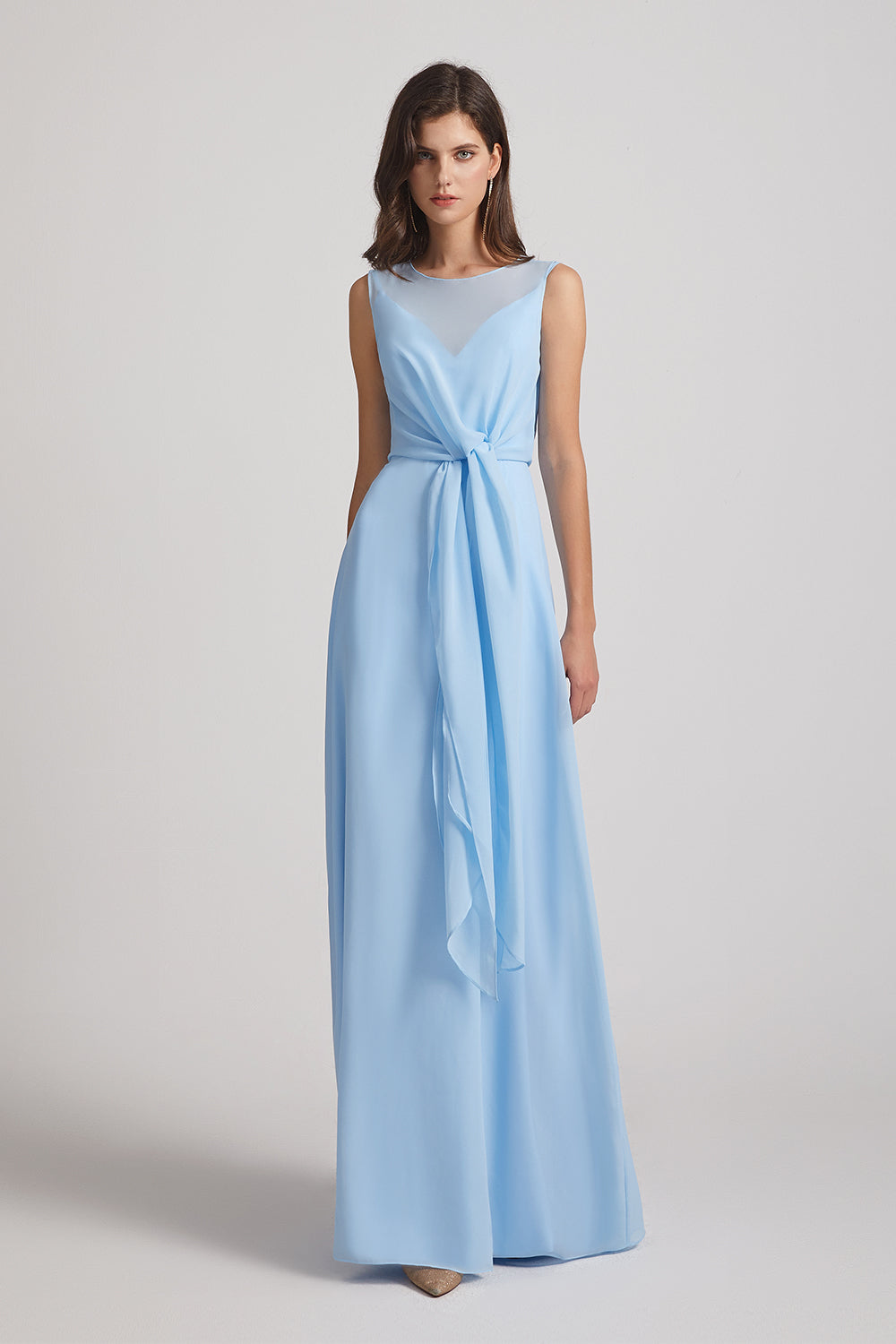 tie-waist chiffon bridesmaid gown