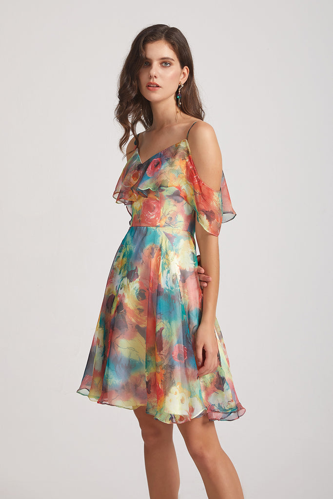could shoulder floral dresses