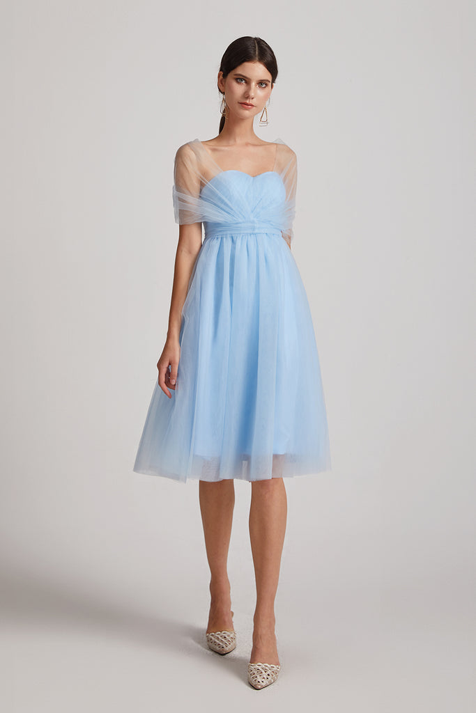 a-line blue short bridesmaid gowns