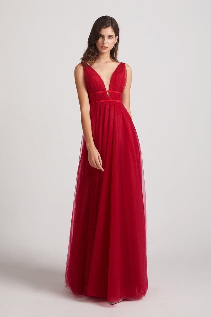 illusion v-neck a-line maid of honor dresses