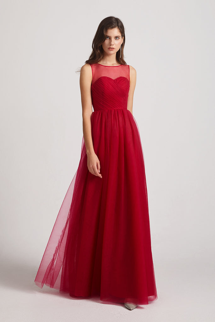 ruched illusion formal gown in red