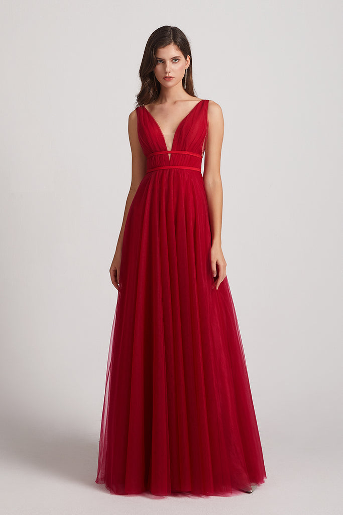 illusion v-neck maxi sleeveless red bridesmaids dresses