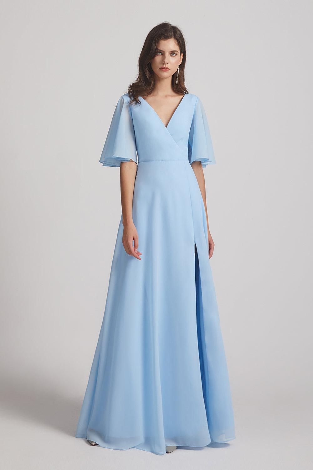 v-neck sky blue chiffon long bridesmaids dresses