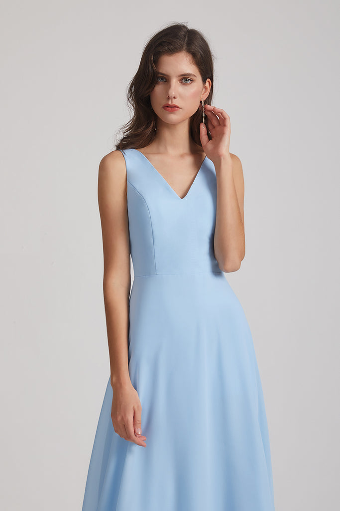 a-line v-neck chiffon bridesmaid gown