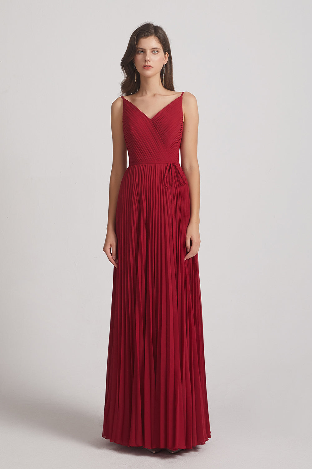 v-neck pleated chiffon bridesmaids gown