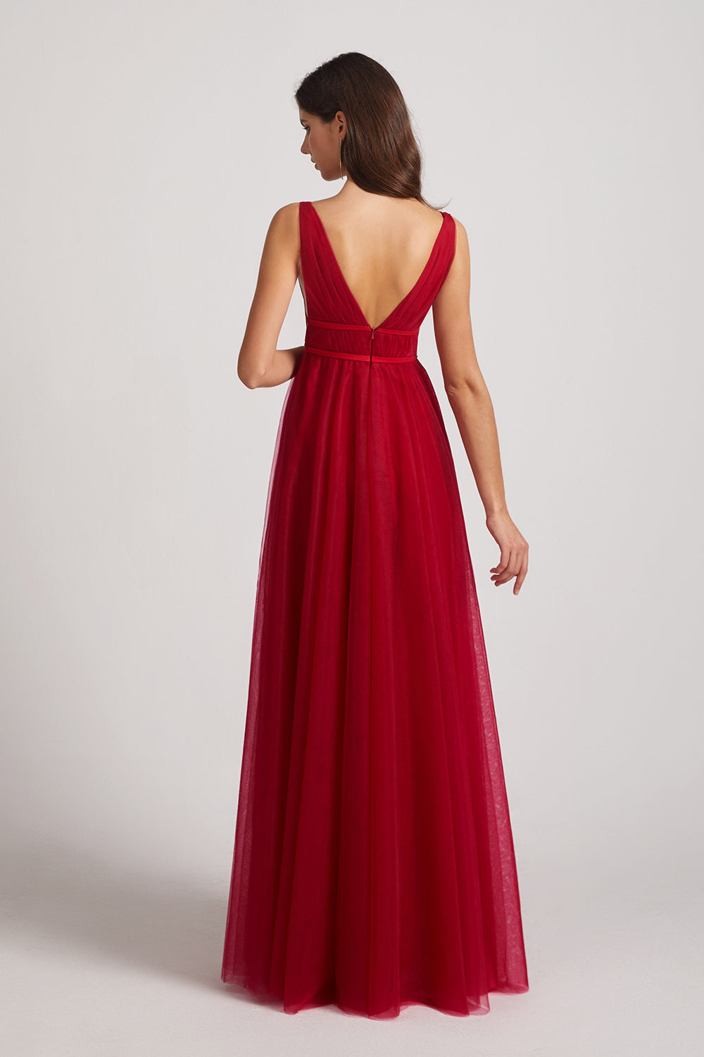 v back tulle bridesmaid dress