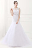 Jewel Sleeveless Mermaid Lace Wedding Dresses With Belt