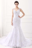 V-neck Sleeveless Mermaid Lace Beaded Rhinestones Wedding Dresses