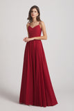v-neck floor length inexpensive maids of honor dress