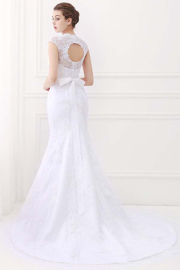 cap sleeve wedding dress with bowknot
