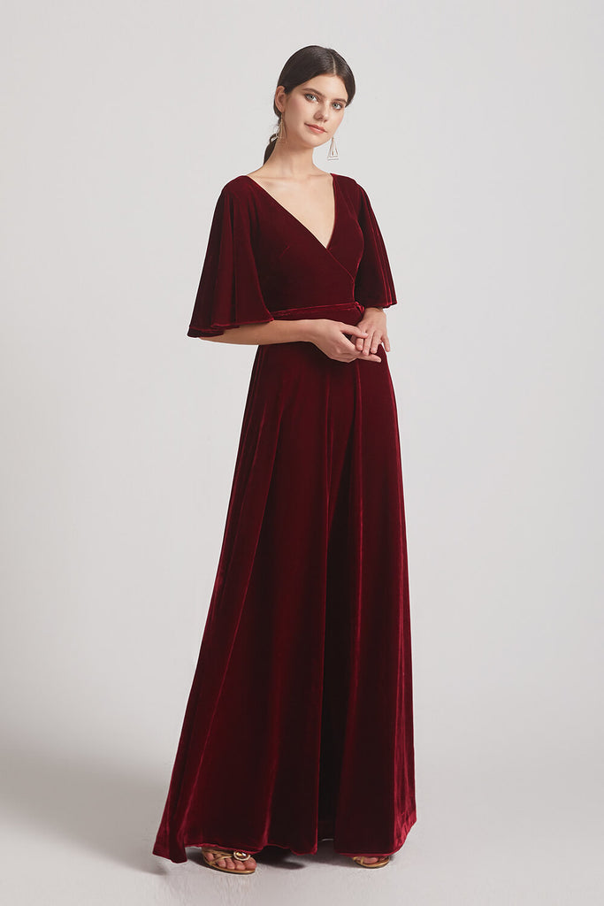 V-neck Velvet Bridesmaid Dresses