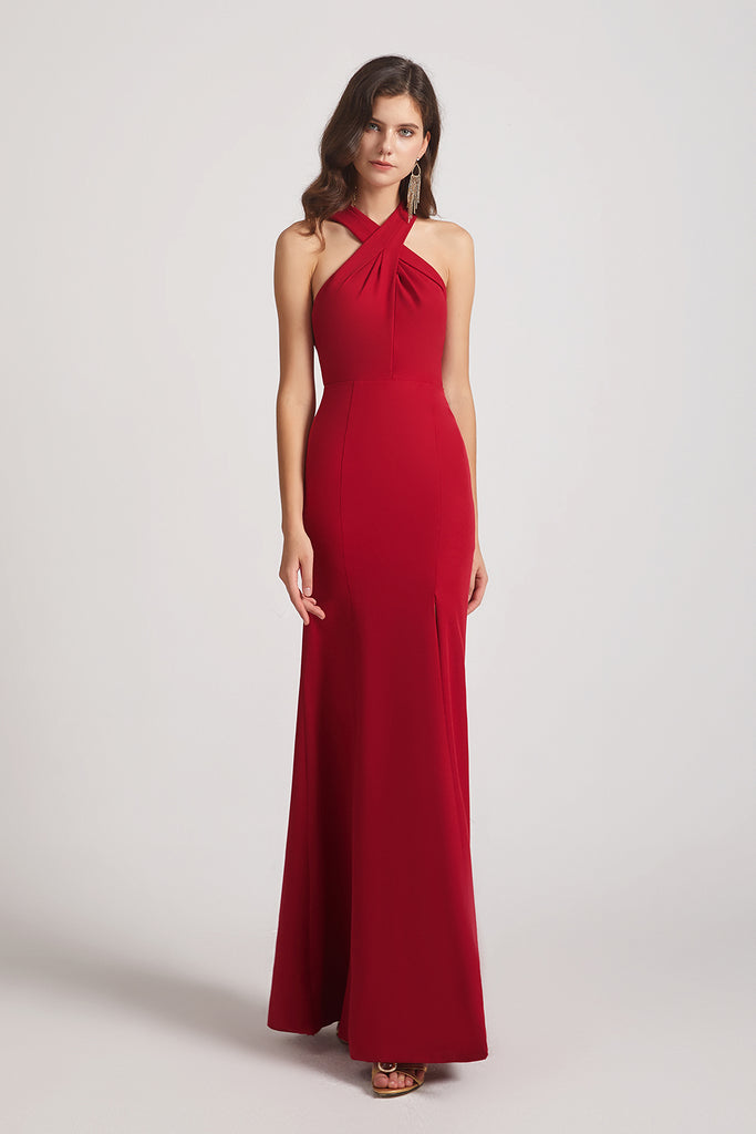 sheath red bridesmaids dresses