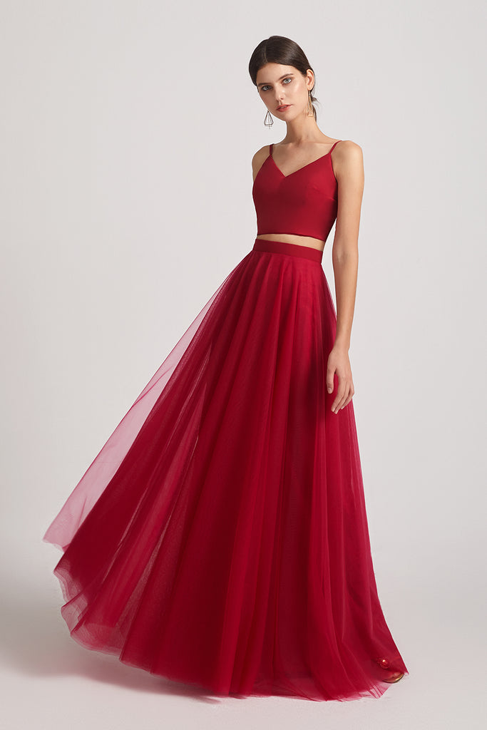two pieces sleeveless red bridesmaid gowns