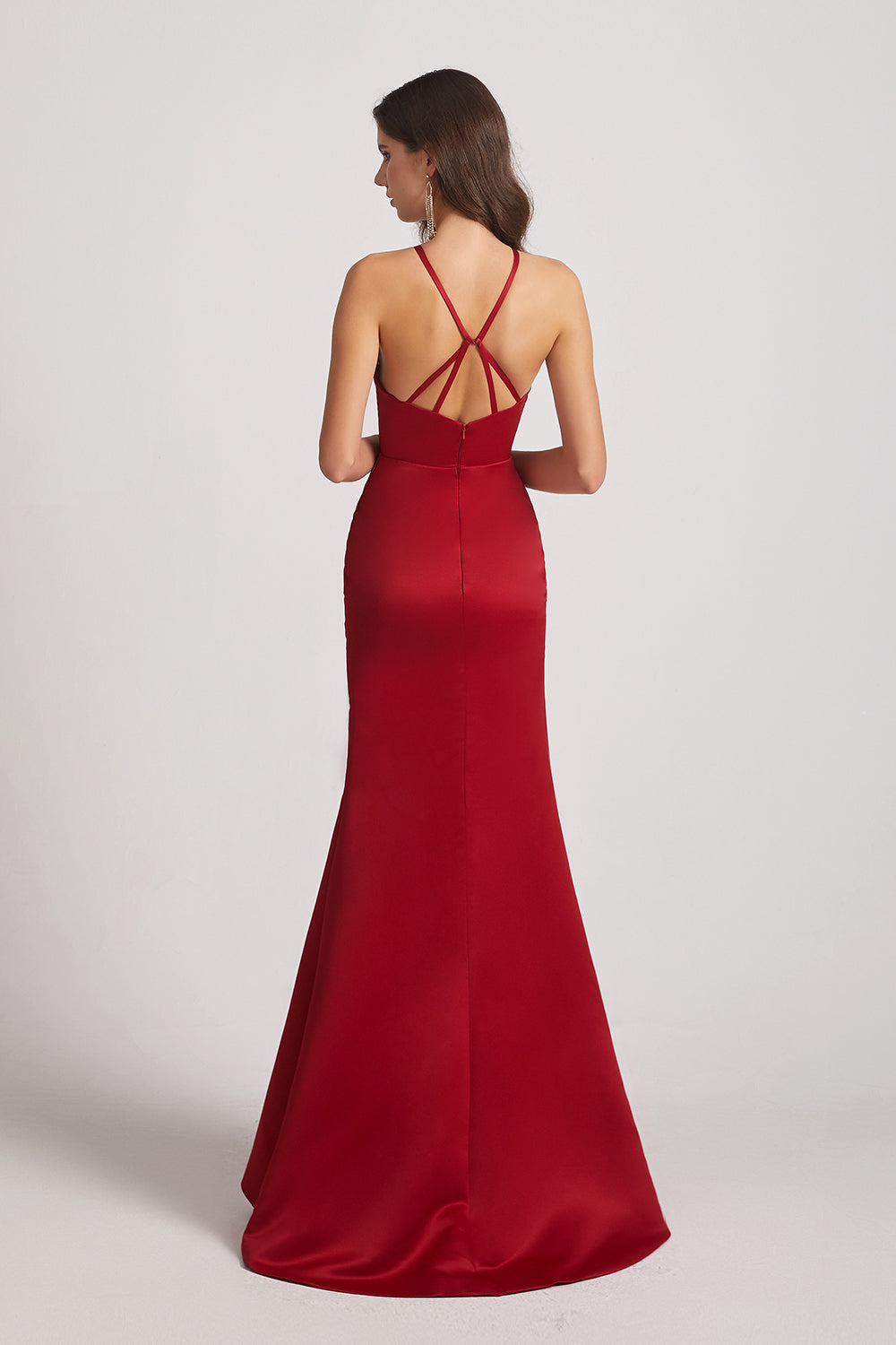 open back red maids of honor dresses