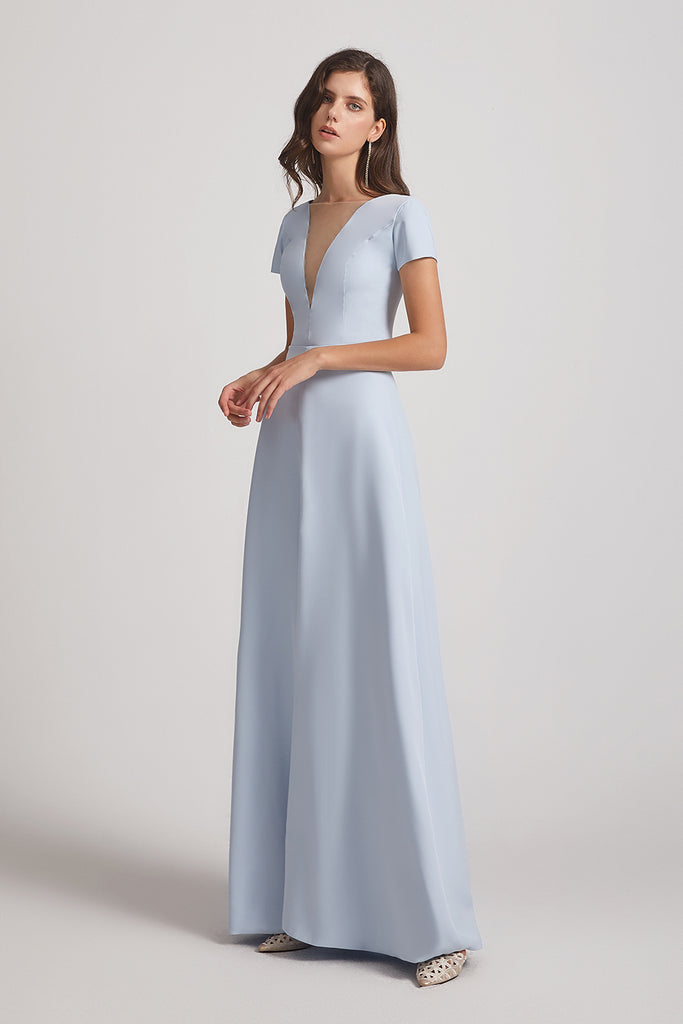satin floor length bridesmaids dress