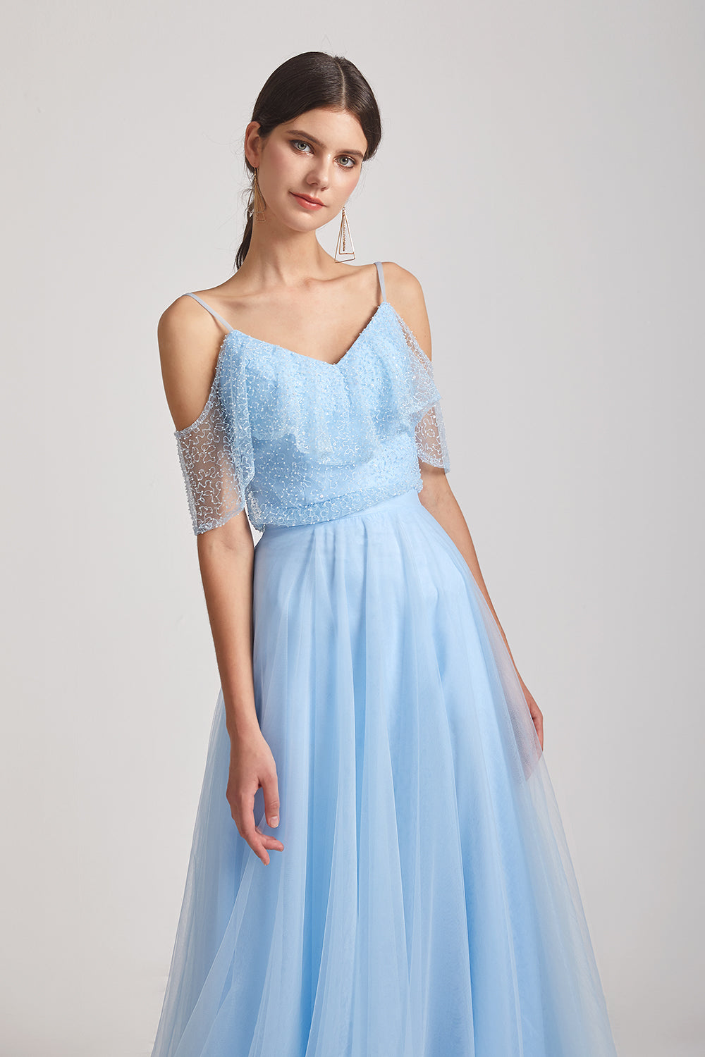 cold shoulder blue maid of honor dress